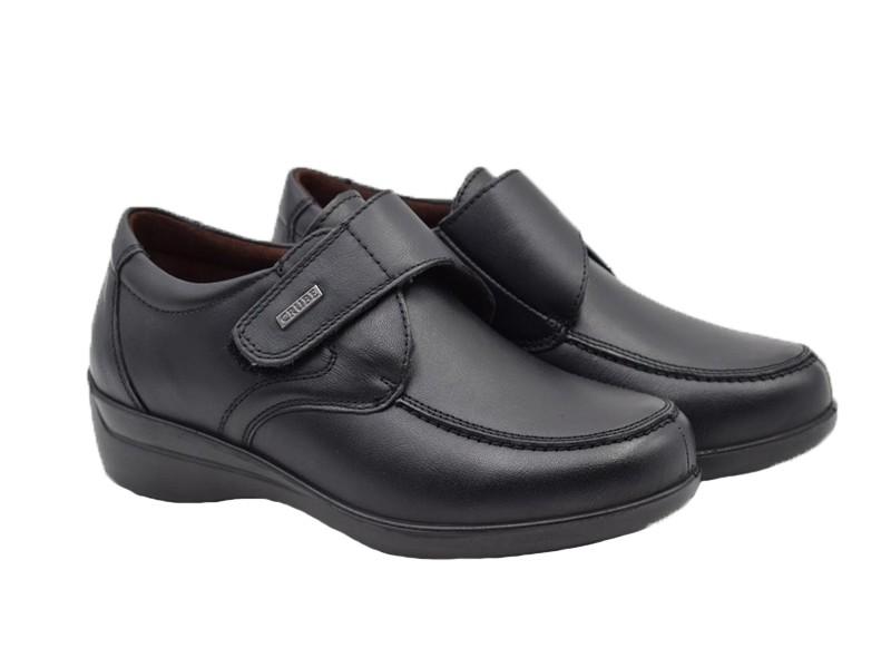 Zapatos Comodos Piel Velcro Negro Zapatos Pasarela